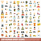 100 human body icons set, flat style. 100 human body icons set in flat style for any design vector illustration Royalty Free Stock Photos