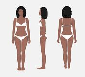 Human body problem_African American Woman front back and side vi. African American woman naked body in full growth in underwear. Front, side and back view Stock Photography