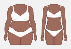 Human body problem_Body weight loss of African American women fr. Vector illustration. Woman body problem fat belly in African American female, weight loss to Stock Photo