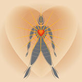 Human Body With Big Heart Radiating Rays Of Light Royalty Free Stock Photography