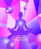 Human body in yoga lotus asana on colorful modern geometric abstract pattern or mosaic with flying balls in trendy. Bright purple violet colors background Royalty Free Stock Photos