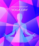 Human body in yoga lotus asana on trendy neon purple colorful bright modern geometric abstract background. Flyer or card. In low poly style. Meditation. Harmony Royalty Free Illustration