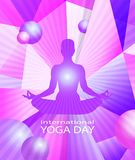 Human body in yoga lotus pose on colorful modern geometric abstract pattern or mosaic with flying balls and rays in. Trendy bright purple violet colors Stock Photos