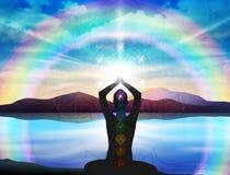 Free Human Body Yoga, Meditation, Chakra Spiritual Energy Healing, Flower Of Life Royalty Free Stock Image - 192473446