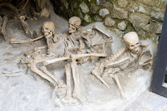 Human bones in Herculaneum. An ancient Roman town destroyed by volcanic pyroclastic flows in 79 AD. Its ruins are located in the commune of Ercolano, Campania royalty free stock image