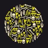 Human bones icons in big yellow circle. Eps10 Royalty Free Stock Photo