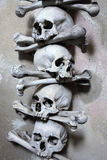 Human bones and skulls in the Sedlec Ossuary. Royalty Free Stock Image