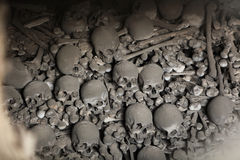 Human bones and skulls in Sedlec Ossuary near Kutna Hora. Stock Images