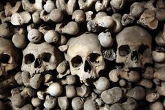 Human bones and skulls in Sedlec Ossuary near Kutna Hora. Royalty Free Stock Images