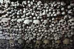 Human bones and skulls in Sedlec Ossuary near Kutna Hora. Royalty Free Stock Photos
