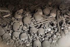 Human bones and skulls in Sedlec Ossuary near Kutna Hora. Royalty Free Stock Image