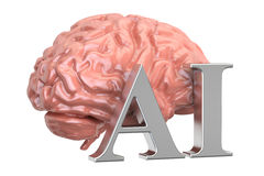 Human brain and AI text, artificial intelligence concept. 3D ren. Human brain and AI text, artificial intelligence concept Royalty Free Stock Photo