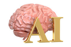 Human brain and AI word, artificial intelligence concept. 3D ren Royalty Free Stock Images