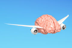 Human brain with airplane wings, free mind concept. 3D rendering Stock Photo
