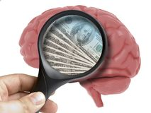 Human Brain Analyzed with magnifying glass money dollars banknotes usa inside addiction isolated. On white royalty free illustration