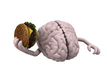 Human brain with arms and a hamburger. On hand, 3d illustration Royalty Free Stock Image