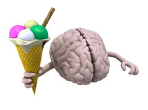 Human brain with arms and ice cream. On hand, 3d illustration Stock Photos