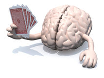 Human brain with arms and legs been playing poker Stock Image