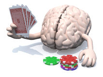 Human brain with arms and legs been playing poker. 3d illustration Stock Photography