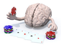 Human brain with arms and legs been playing poker Stock Photos