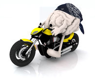 Human brain with arms and legs on the motorbike Stock Photo
