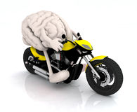Human brain with arms and legs on the motorbike Stock Image