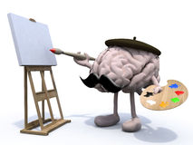 Human brain with arms, legs, moustache painter Stock Image