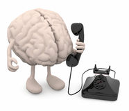 Human brain with arms, legs and old phone on hand. 3d illustration stock illustration