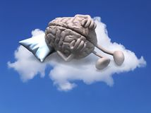 Human brain with arms and legs resting on a pillow above a cloud royalty free stock photography