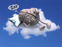 Human brain with arms and legs resting on a pillow above a cloud royalty free stock image
