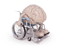 Human brain with arms and legs on a wheelchair Stock Photo