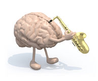 Human brain with arms and legs who play saxophone Royalty Free Stock Images