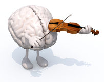 Human brain with arms and legs who plays the violin Royalty Free Stock Photo