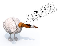 Human brain with arms and legs who plays the violin Stock Photo