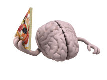 Human brain with arms and a slice of pizza. On hand, 3d illustration Stock Images