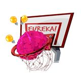 Human brain as Basketball going through the basket with lightbul. B of idea. Eureka text at the basket. discover concept -  illustration Stock Images