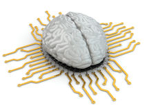Human brain as computer chip. Concept of CPU. Royalty Free Stock Photos