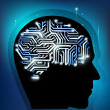 Human brain as a computer chip Royalty Free Stock Photography