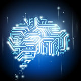 Human brain as a computer chip Royalty Free Stock Images