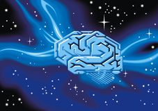 Human brain as technology illustration Stock Photography