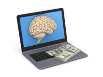 Human brain and big stack of dollars Royalty Free Stock Image