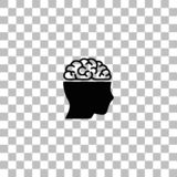 Human brain icon flat royalty free illustration