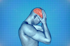 Human brain. On a blue background stock illustration