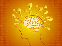 Human brain in bright orange. Illustration of human brain with certain concept in bright background Stock Photography