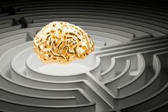 Human brain at the center of a maze. 3D rendering. Human brain at the center of a maze. 3D Stock Photography