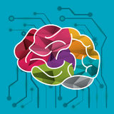 Human brain and circuit icon image Stock Images
