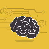 Human brain and circuit icon image Royalty Free Stock Photos