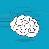 Human brain and circuit icon image Stock Photos