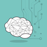 Human brain and circuit icon image Royalty Free Stock Photo