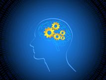 Human brain with cogs. Illustration of human brain in blue digital background stock illustration